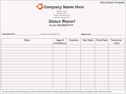 weekly task report template excel status report template free business template