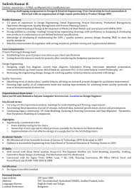 Sample Resume Objectives For Training by Automobile Resume Samples Mechanical Engineer Resume Format