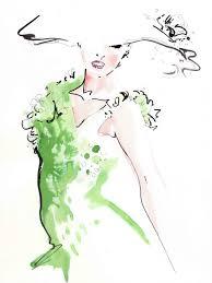 jax barrett emerald sequinned dress fashion illustration