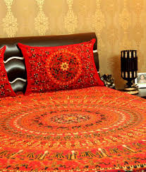 Throw Pillow Covers Online India Unravel India Ethnic Sanganeri Print Bed Sheet With 2 Pillow