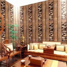 chinese vintage wood stone 3d pvc wallpaper living room restaurant