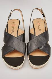 black comfort insole cross over wedge sandal in eee fit sizes