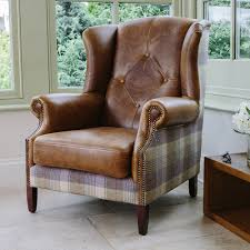 Tartan Armchairs Julius Leather U0026 Wool Wing Armchair From Curiosity Interiors With