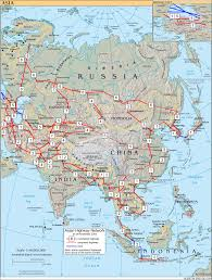 North Africa Southwest Asia And Central Asia Map by Asian Highway Network Wikipedia
