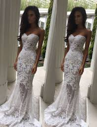 mermaid wedding dress sweetheart sweep lace wedding dress with appliques