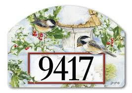 yard designs home address signs with winter themes