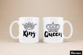 coffee mugs tea cups mr mrs queen king crown crowns husband