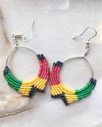 reggae earrings handmade reggae earrings hoop earrings festival earrings