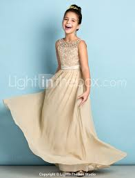 A Line Scoop Neck Floor Length Chiffon Lace Junior Bridesmaid