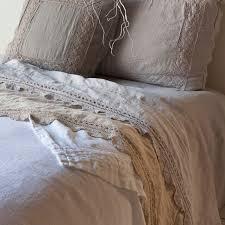 bella notte flat sheet linen with crochet lace trim