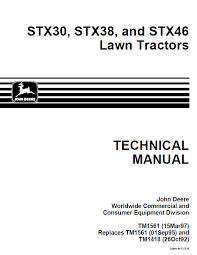 john deere stx30 stx38 stx46 lawn tractors tm1561 technical