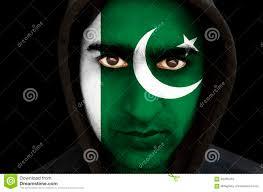 Flag Face Portrait Of A Man With Pakistani Flag Face Paint Stock Photo