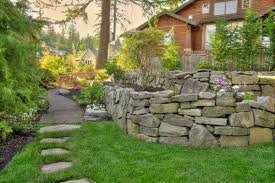 exterior design backyard stone retaining wall design with pea