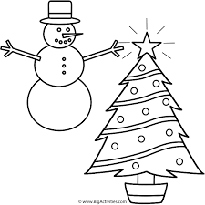 christmas tree with snowman coloring page christmas