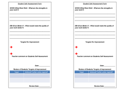 student self assessment form with teacher feedback and target