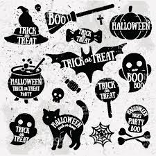 set of halloween characters with text inside stock vector art
