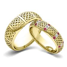 matching wedding bands his and hers his hers matching wedding bands in 14k gold celtic ruby wedding ring