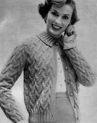 pattern 1950s vintage cable knit cardigan sweater