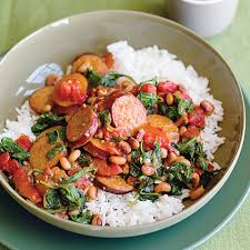 spicy turkey sausage with black eyed peas spinach recipe myrecipes
