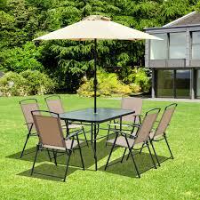 6 Seater Patio Furniture Set - outsunny 8pcs garden set outdoor patio furniture 6 seater table w