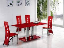 home design antique rooms with red and white dining chairs
