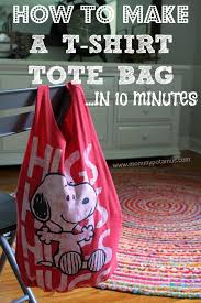 How To Make A Rag Rug From T Shirts How To Make A No Sew T Shirt Tote Bag In 10 Minutes