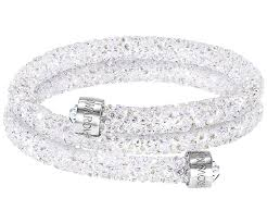 white swarovski crystal bracelet images Crystaldust double bangle white stainless steel jewelry jpg
