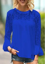 royal blue blouse top flare sleeve royal blue lace panel blouse rosewe com usd 30 49