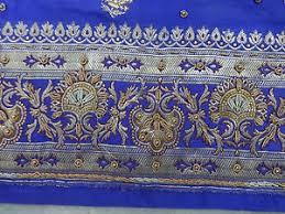 gold lace ribbon antique zari zardozi embroidered border trim ribbon lace gold blue