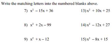 puzzle factoring trinomials u2013 denise gaskins u0027 let u0027s play math