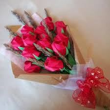 Roses Bouquet Roses Bouquet With Dried Flower Red Paper Gift Crafts