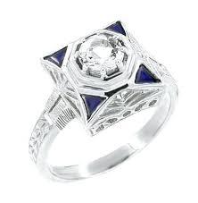2 carat diamond engagement rings art deco filigree triangle