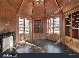 wood paneling walls library wood paneled walls fireplace stock photo 35093566