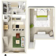 awesome one bedroom apartment open floor plans with loft plan