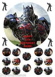 optimus prime cake topper optimus prime transformers 7 5 cake topper wafer card rice