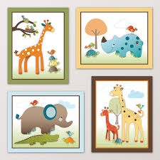 Bedroom Wall Art Sets Amazon Com Giraffe Safari Jungle Animals Nursery Wall Art