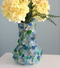 Beach Decor Sea Glass Vase Nautical Watercolor Beach Glass Vase