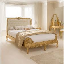 White Classic Bedroom Furniture Bedroom Furniture Gold Wooden Frame Bed Decorative Headboard