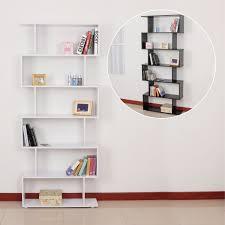 6 Shelf Bookshelf Homcom 6 Shelves Bookshelf S Shape Aosom Co Uk