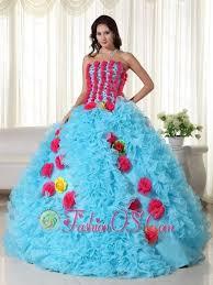 quinceanera dresses aqua gown strapless floor length organza beading quinceanera dress