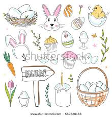 vector easter doodles isolated on stock vector 589520168