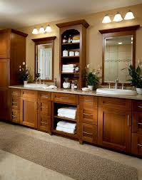 create a beautiful mission style bathroom for two with recessed