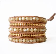 bracelet bead leather images Mother of pearl leather wrap bracelet onsra designer bracelets jpg
