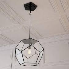 Large Glass Pendant Light Geometric Tenley Large Glass U0026 Iron Pendant Light Chairish