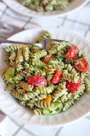 four ingredient pesto pasta salad bowl of delicious
