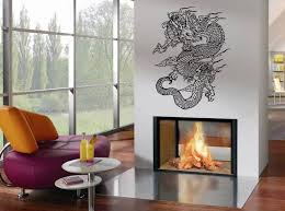 bedroom dragon vinyl wall decal above fireplace ideas using wall