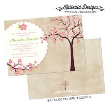 baby shower invitation cherry tree blossoms sip and see