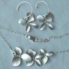 silver earrings necklace images Sterling silver simple triple orchid flower earrings necklace set jpg