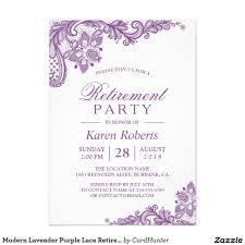 Retirement Invitation Card Modern Lavender Purple Lace Retirement Party Card