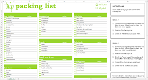 travel checklist images Trip packing list excel template savvy spreadsheets png